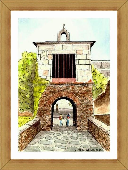 portomarn, lugo, entrada, peregrinos, camino de santiago, plumilla, dibujo, acuarela, arte