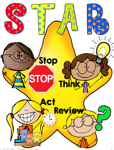 STAR problem solving sign, freebie! Remind students to stop, think, act and review as they're solving problems.