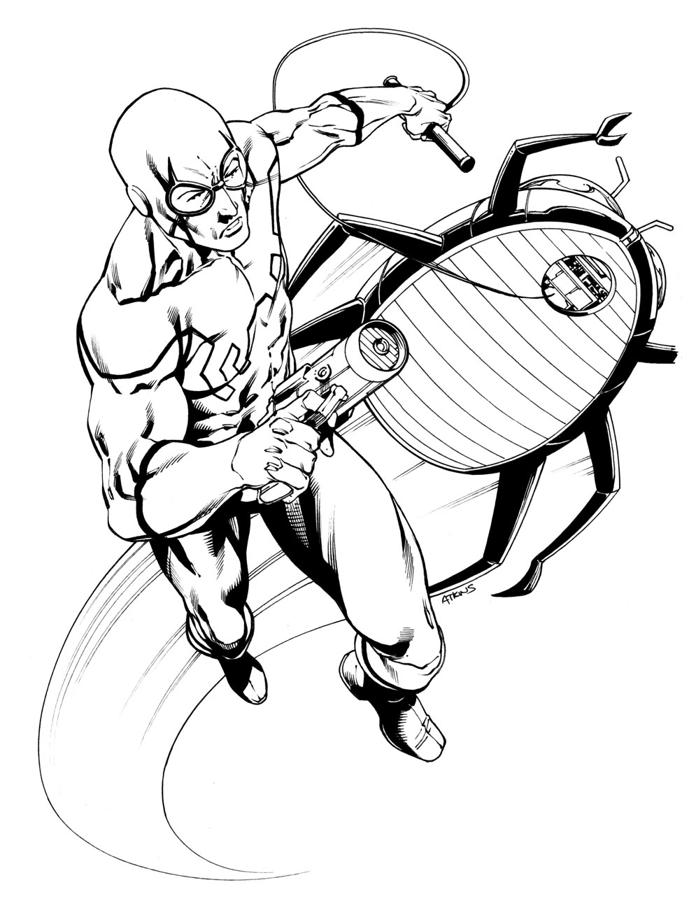 Robert atkins art jla blue beetle for Blue beetle coloring pages