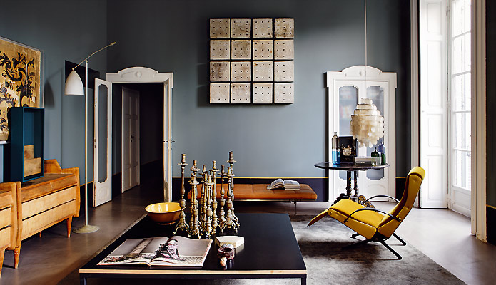 Die wohngalerie dimore studio arbeitet gerne in taubenblau - Wandfarbe taubenblau ...