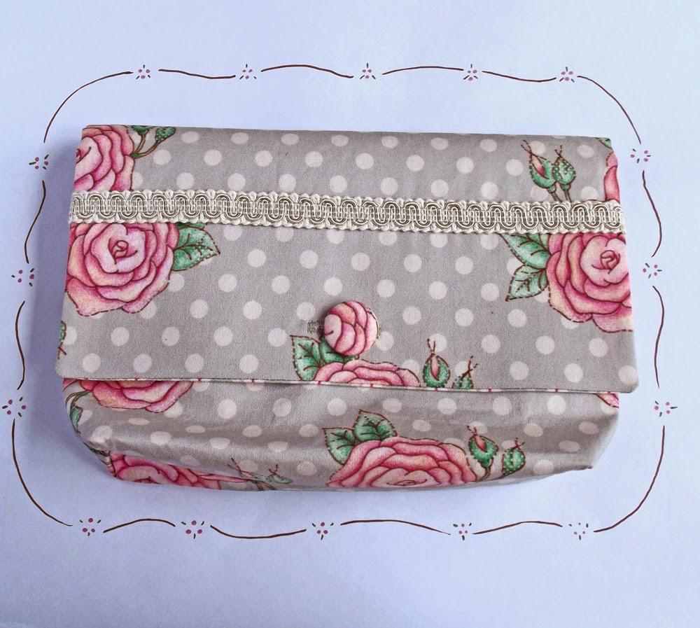 shabby chic pink roses grey polkadots