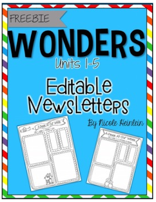 https://www.teacherspayteachers.com/Product/First-Grade-Reading-Wonders-Editable-Newsletters-Units-1-5-1589630