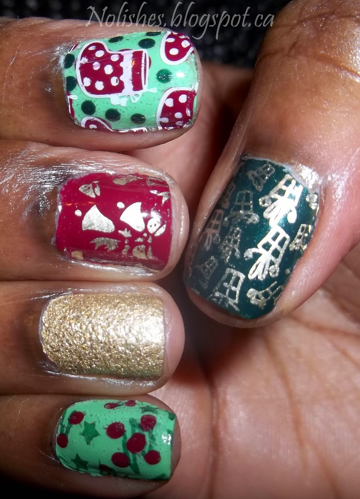 Christmas Themed Nail stamping manicure using light and dark green, red, gold, and white nail polishes. Stamped with images of presents, stockings, bells, and trees.