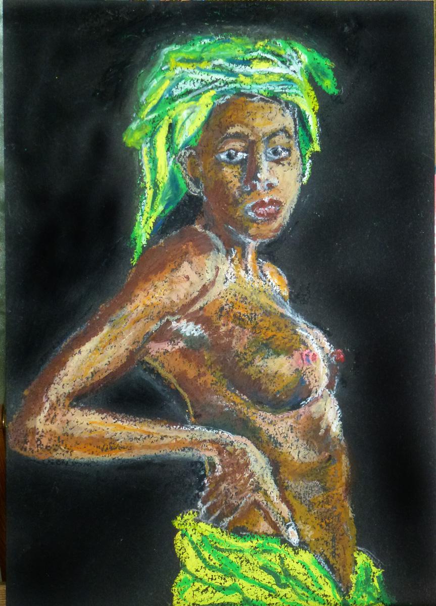 Art de vivre la peinture de peintrefiguratif portrait exotique pastel gras sur papier noir for Peinture pastel gras