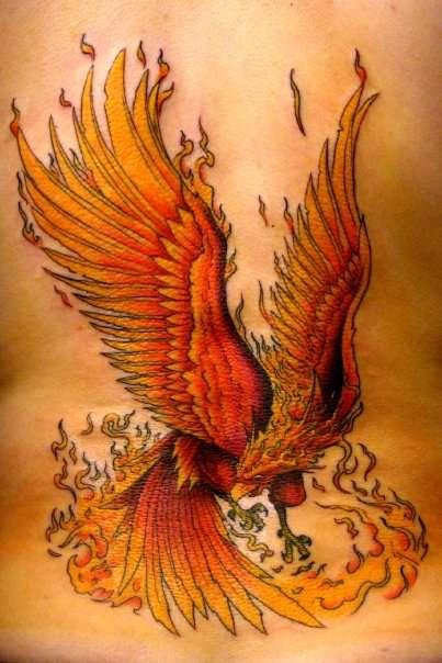 Fire Phoenix Body Tattoo