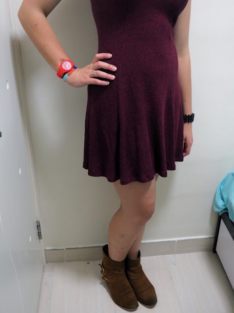 Off to Work | outfit of plum knit dress, with brown ankle boots, for kindergarten work