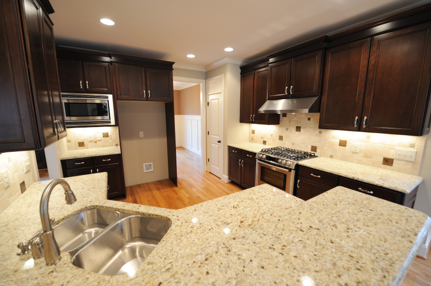 Home Kitchen design Photos Very light Granite Countertops with a dark