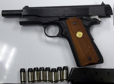 A 45. caliber pistol loaded with seven rounds and a round in the chamber was discovered hidden under the lining of a carry-on bag at Charlotte (CLT).