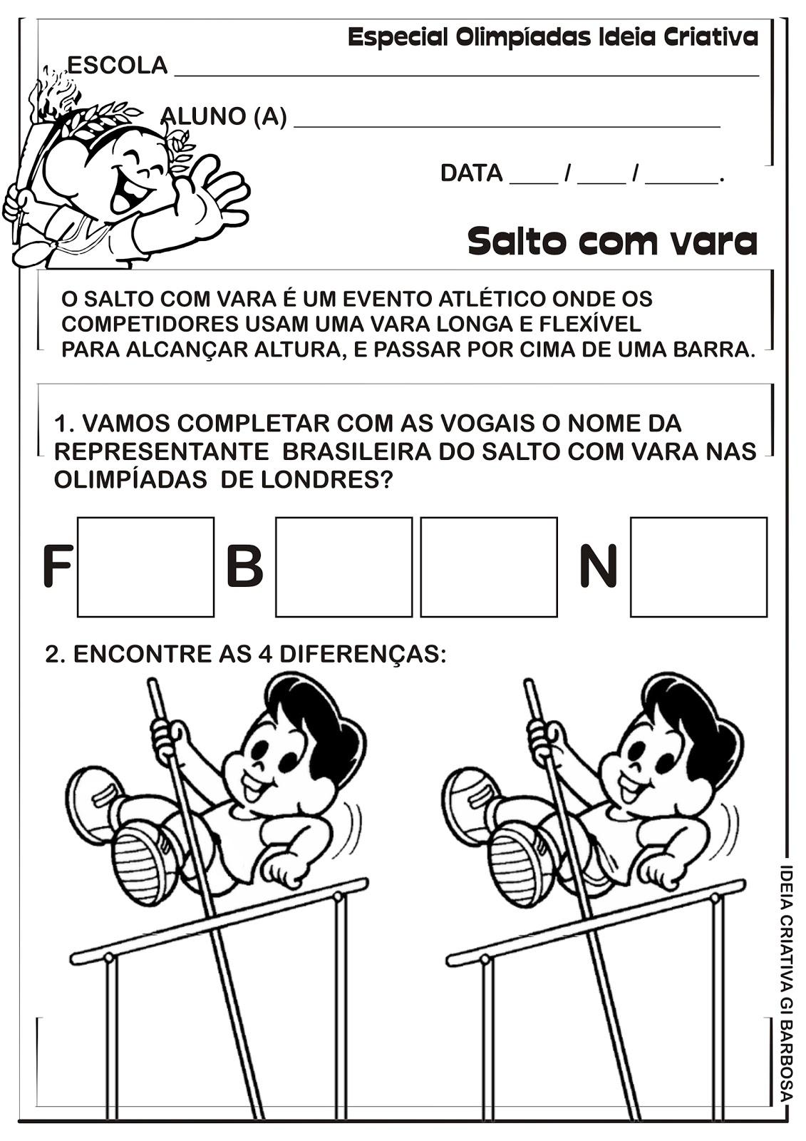 Favoritos Atividade Olimpíadas Rio 2016 Salto com Vara | Ideia Criativa - Gi  ZO31