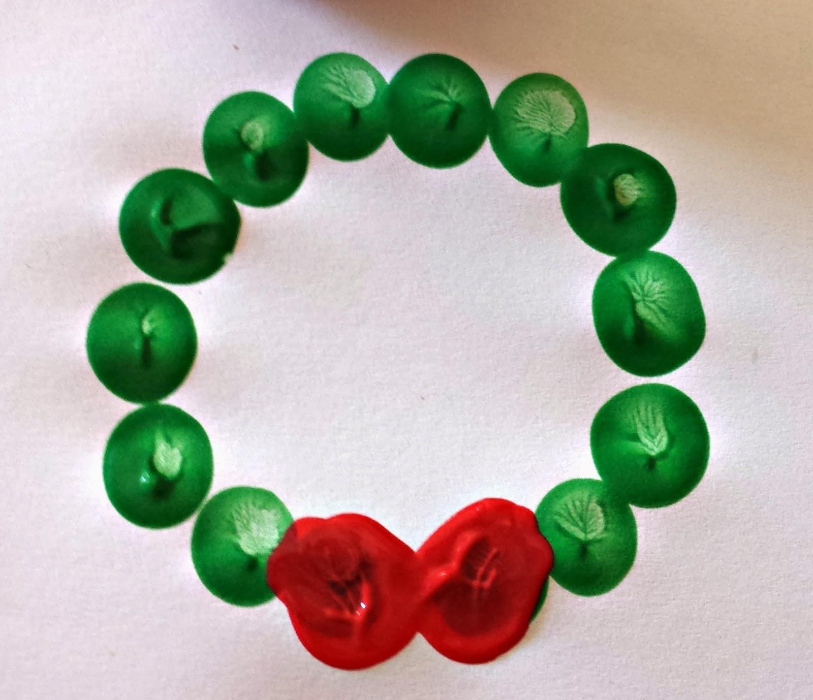 Wreath Crafts For Kids Part - 47: Fingerprint Christmas Wreath Craft For Kids