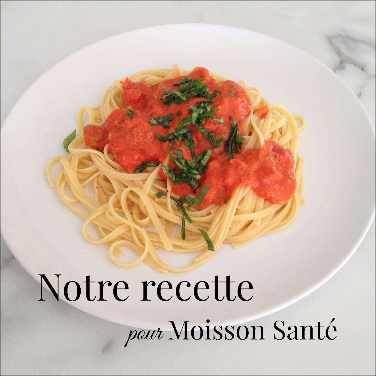 Il y a quelques semaines, Moisson Santé nous a remis un pot de sauce pour  pâtes afin d\u0027élaborer une recette fraîche. Il s\u0027agissait de la sauce «Olive