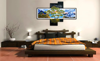 "Original modern oil painting in handmade ""Sunset in the Mountains "" on canvas Large in style fantasy. Set of 4 canvases, Total length Multipanels 71"". Buy and see Russian modern art other paintings  you may here: http://www.etsy.com/shop/PaintingInterior"