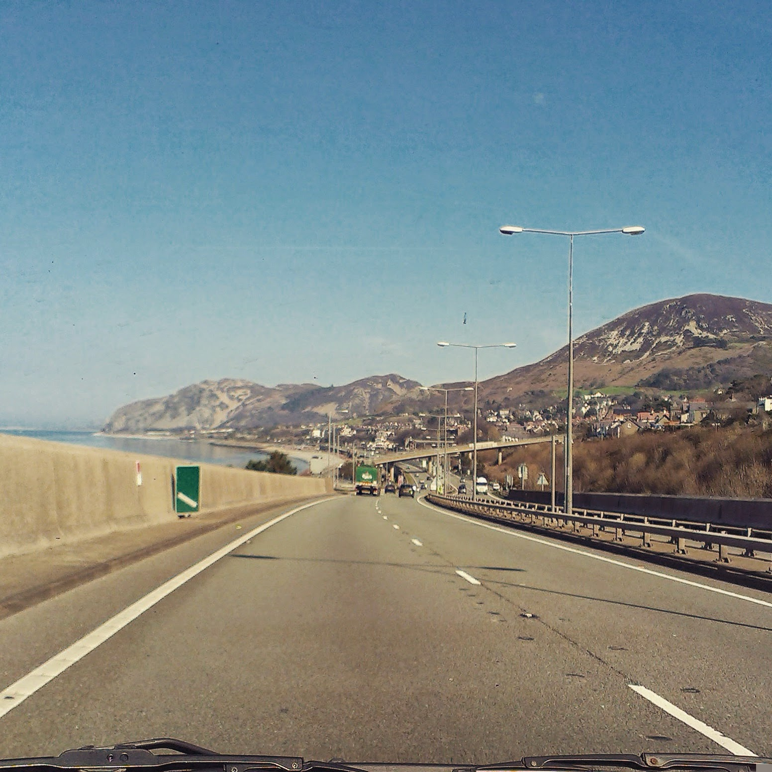 Driving along the A55 in North Wales