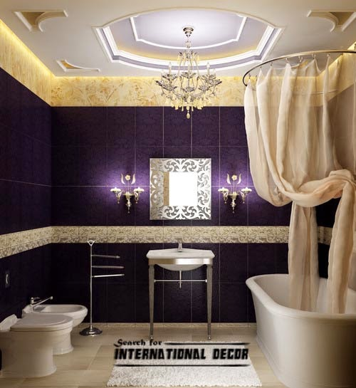 luxury Italian bathroom, false ceiling design LED lights, purple tiles,shower curtains