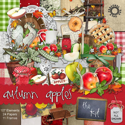 Autumn Apples Freebie Add on digital scrapbook kit