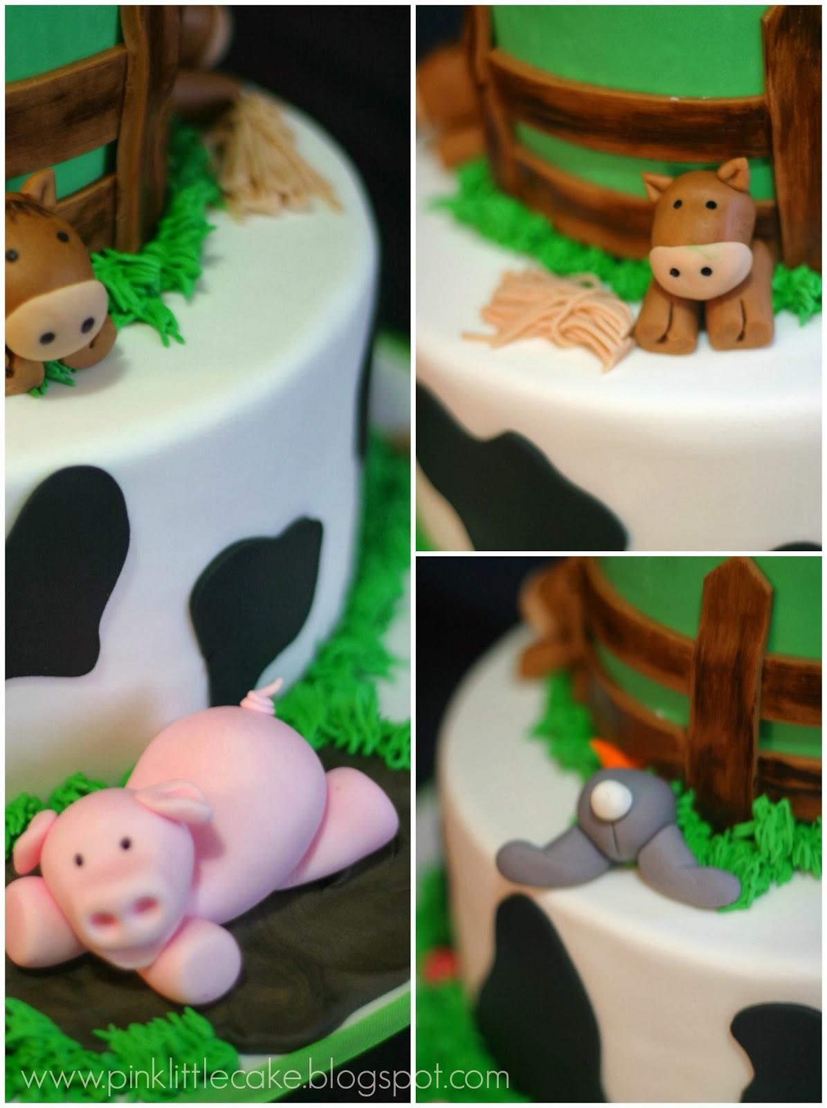 My Pink Little Cake Farm Theme Birthday Cake