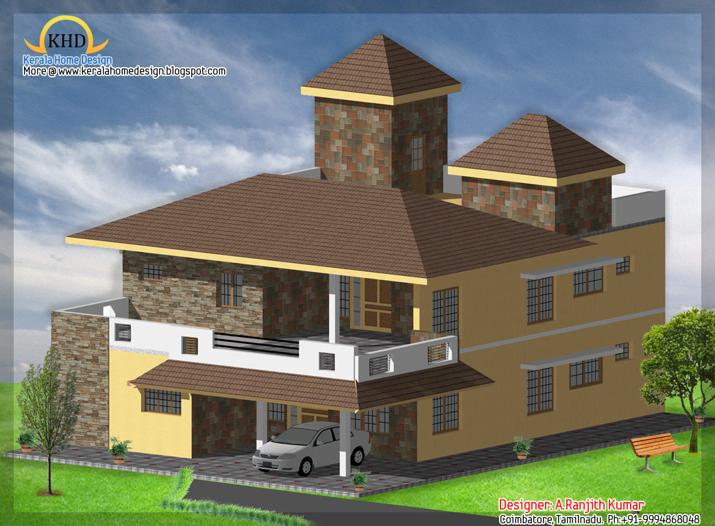 3 house elevations over 2500 sq ft kerala home design for Floor elevation