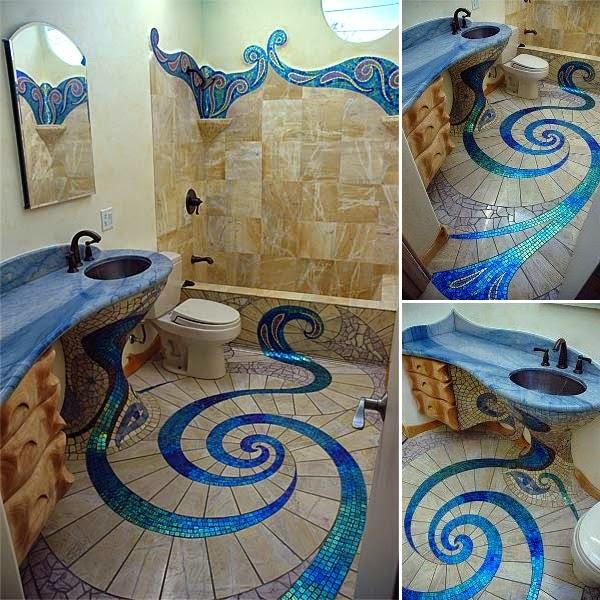 Incre ble dise o de ba o con mosaicos ba os y muebles - Mosaicos para banos ...