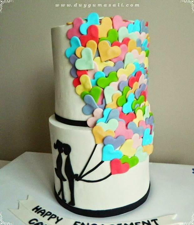 romantik nişan pastası