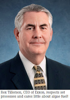 Rex Tillerson, CEO of Exxon, respects set processes and cares little about algae fuel!