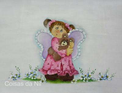"""""""anjinho country com urso, fralda pintada menina"""""""