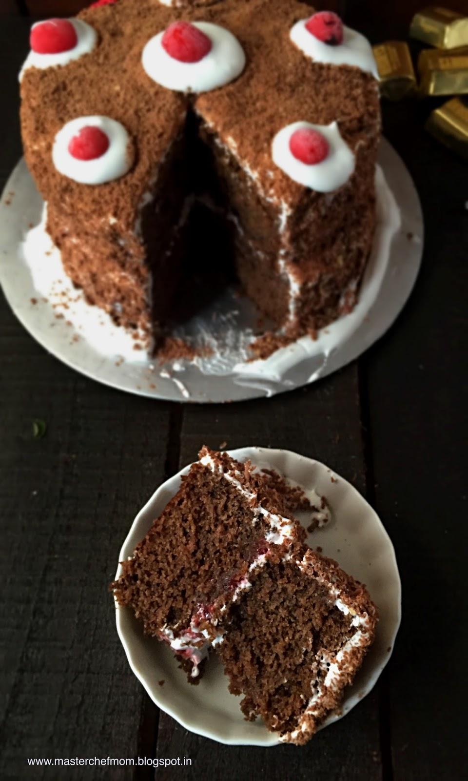 MASTERCHEFMOM: Black Forest Cake ( Eggless) How to make ...