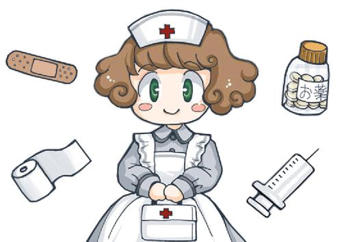 Dibujo de enfermera  y jeringa, esparadrapo para imprimir