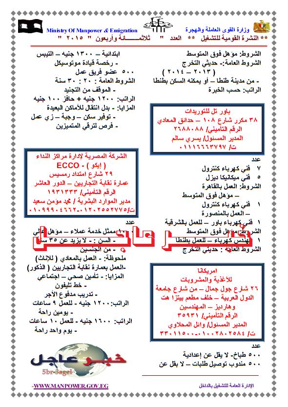"""القوى العاملة """" النشرة القومية للتشغيل """" تعلن عن 3205 وظيفة للجميع والتقديم لنهاية 9 / 2015"""