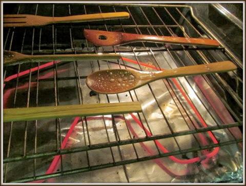 wooden spoons in oven