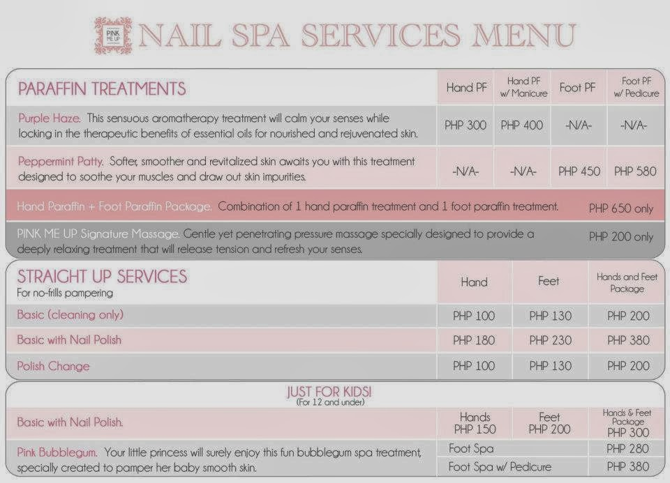 pink me up spa menu
