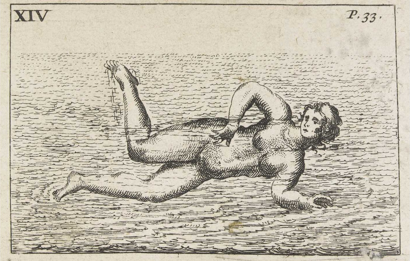 sketch of backstroke technique 1700s