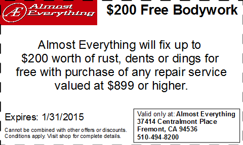 Coupon $200 Free Bodywork Discount January 2015