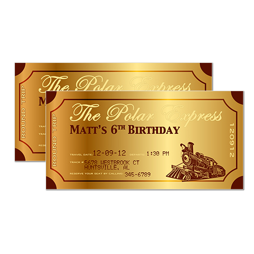 Belle announces polar express party invitation is complete for Polar express golden ticket template
