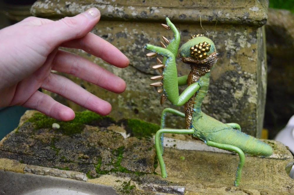 praying mantis textile sculpture