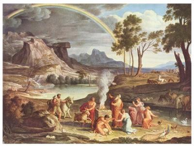 En sortir d'arca, Noè va veure l'Arc de Sant Martí com una aliança entre Déu i l'home (Joseph Anton Koh - 1803)