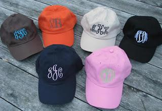 monogrammed baseball hats