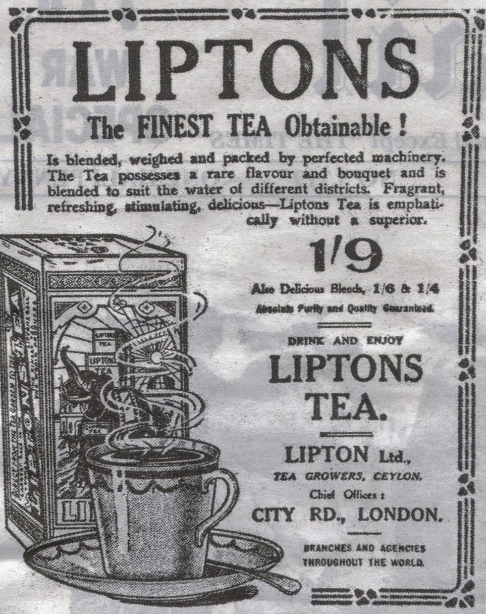 1914 advert for Lipton's tea