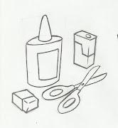 Desenho de tesoura, desenho de cola, desenho de apontador e desenho de .