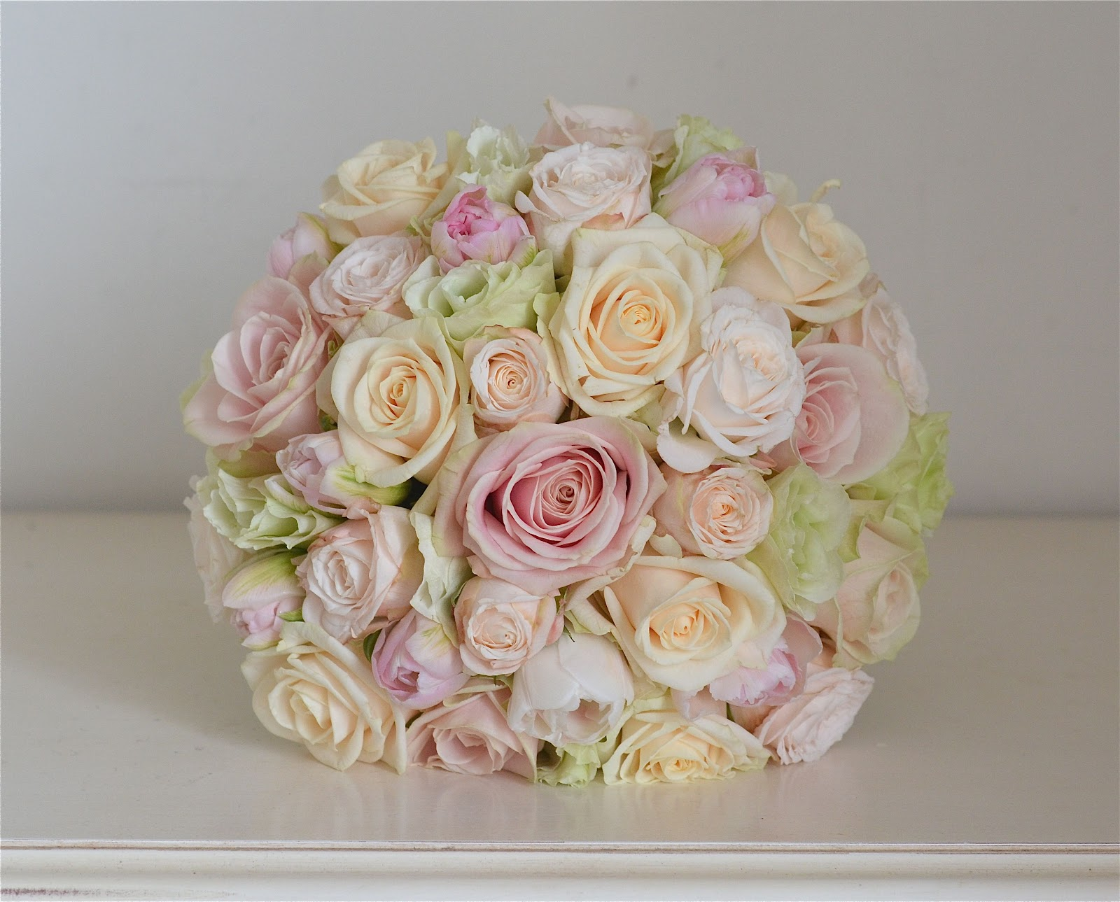 Wedding Bouquet In Pale Pinks Pale Green Cream And Ivory Using Sweet