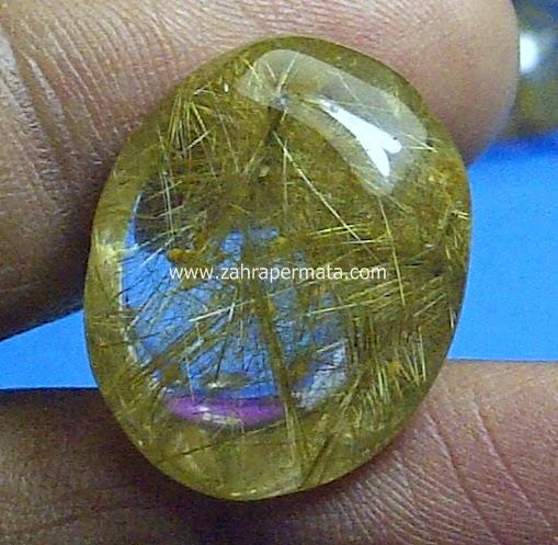 Batu Permata Kecubung Rambut Emas