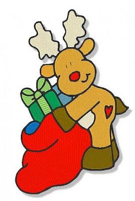 Desenho de rena de natal colorido