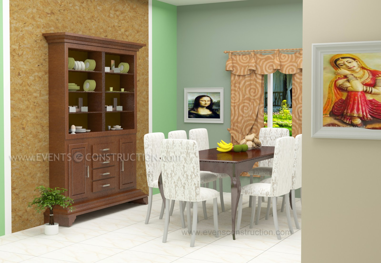 Kerala dining room home for Dining room designs kerala