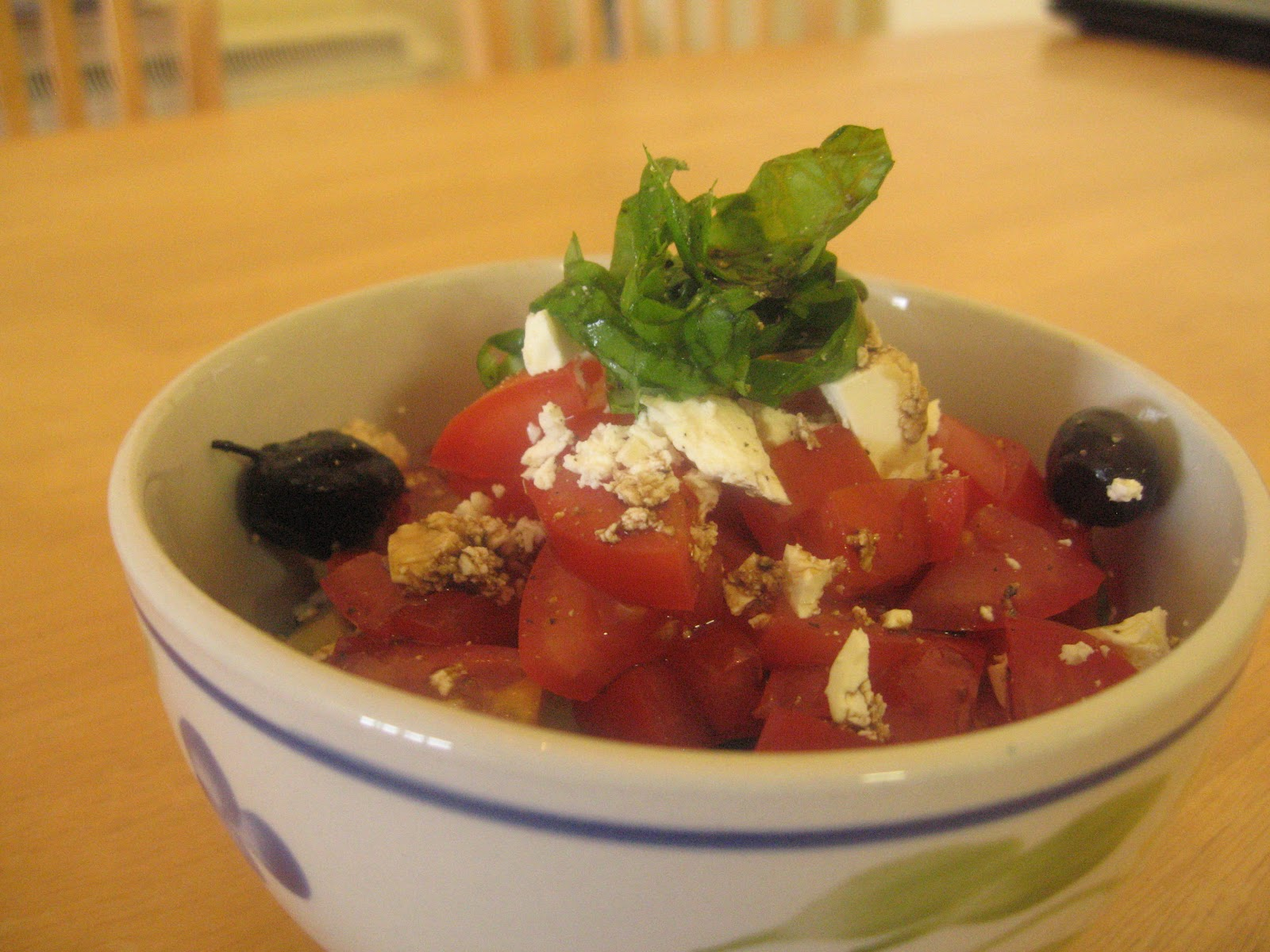 Easy Cucumber and Tomato Salad with basil, olives and feta @ What's for Dinner