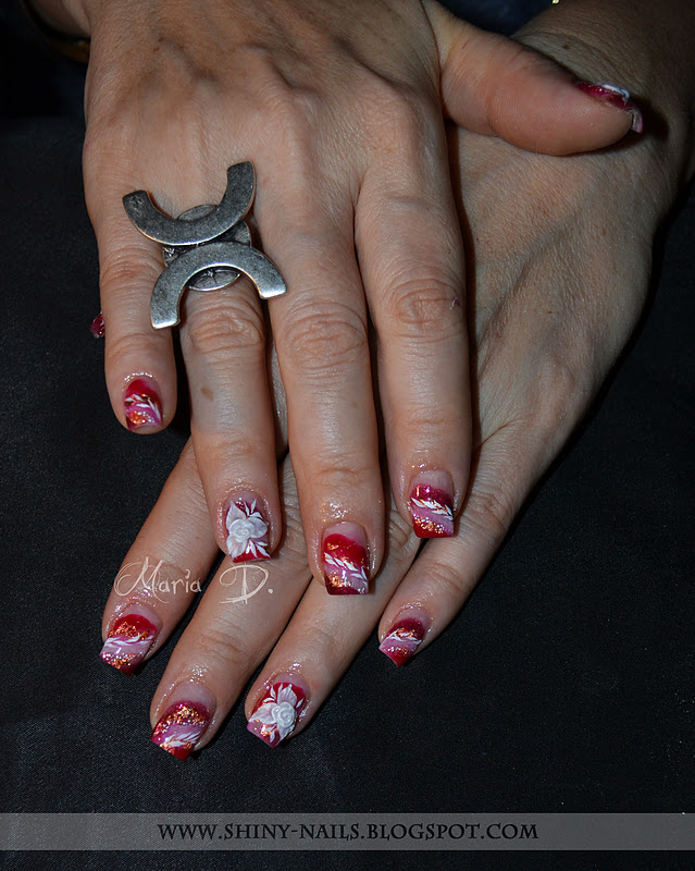 Gel nail protection, background made of: white gel, dark red glitter