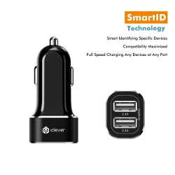 iClever BoostDrive 24W 4.8A Intelligent Dual USB Car Charger with SmartID Technology,