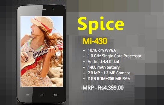 Spice Mi-430: 4 inch,1GHz Cheap Android Phone Rs.4000 range,Specs