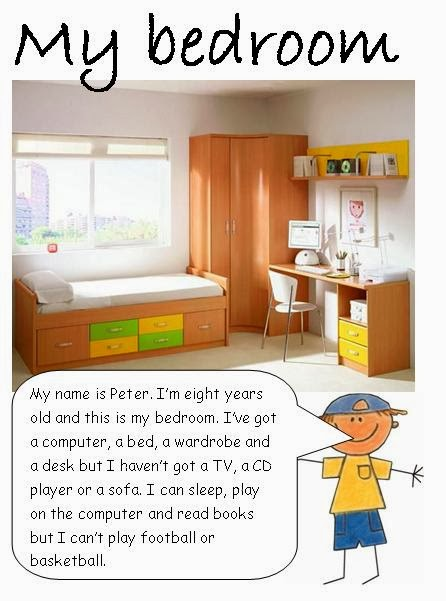description of my room Describing my bedroom  in my bedroom there is a study table on this table there are lots of reading books there is a radio and a tape recorder too.
