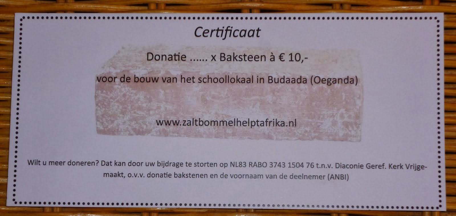 Baksteen a €10 voor Budaada
