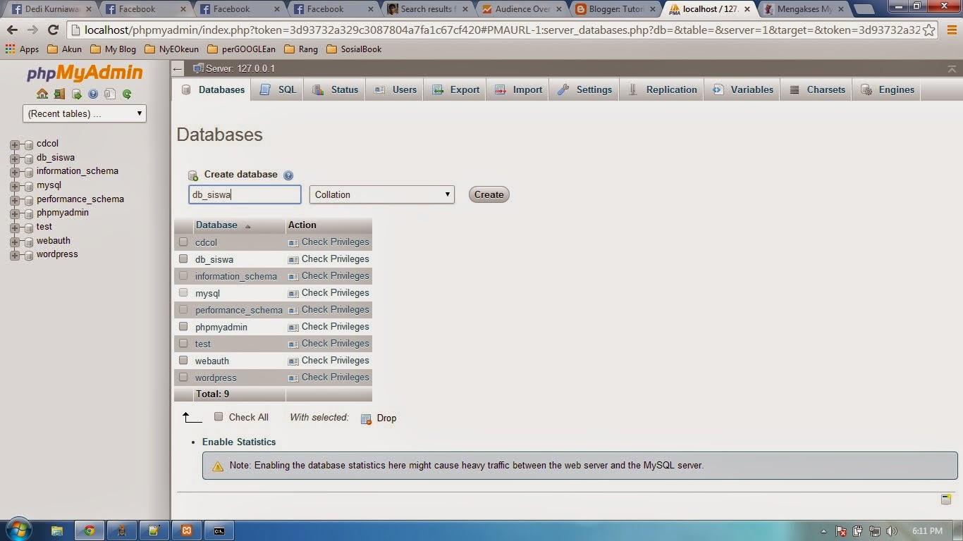 belajar membuat database menggunakan Phpmyadmin