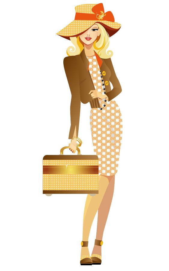 買い物を楽しむ女性 shopping girls in cartoon style イラスト素材1